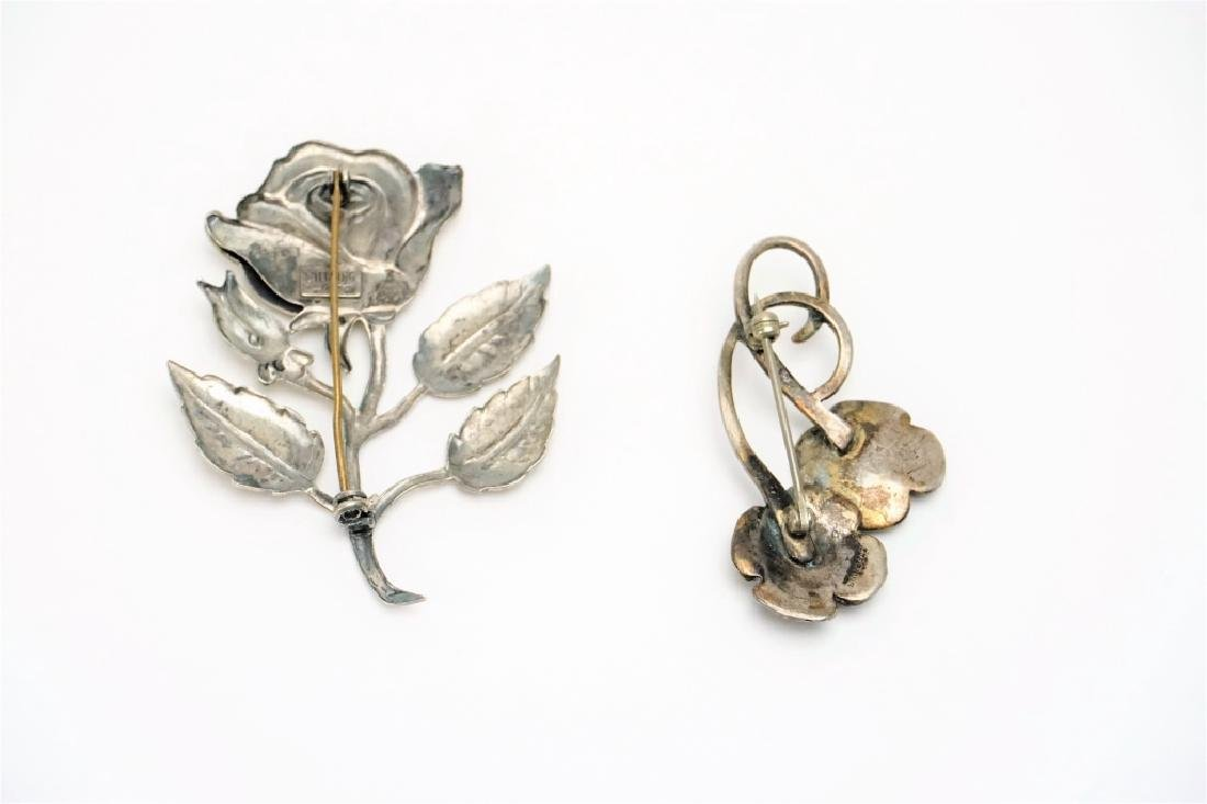 (2) STERLING SILVER FLORAL PINS - 3