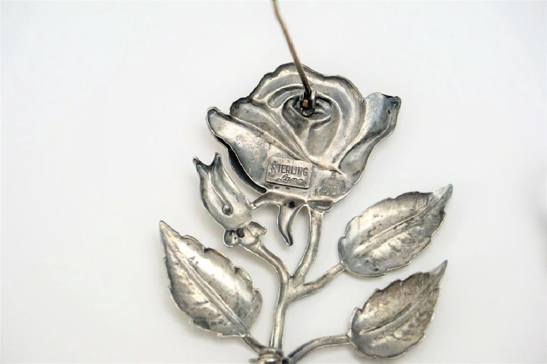 (2) STERLING SILVER FLORAL PINS - 4