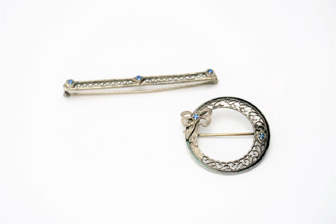 (2) STERLING SILVER PINS WITH BLUE STONES - 2