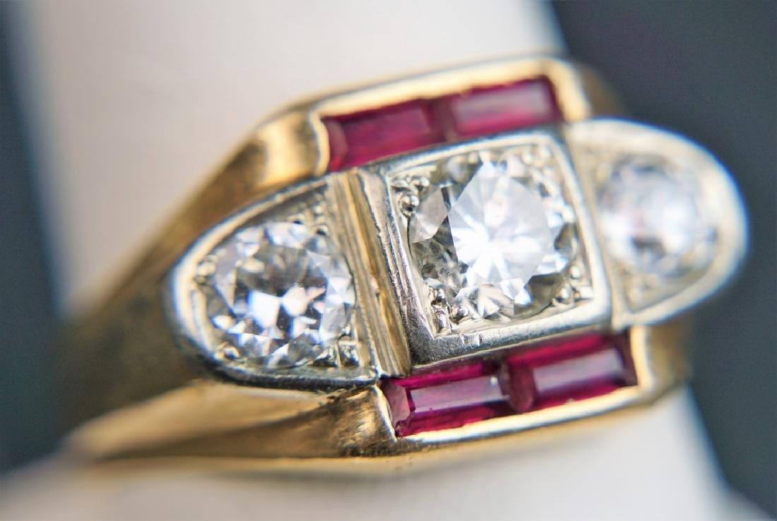 14K GOLD DIAMOND & RUBY MEN'S RING