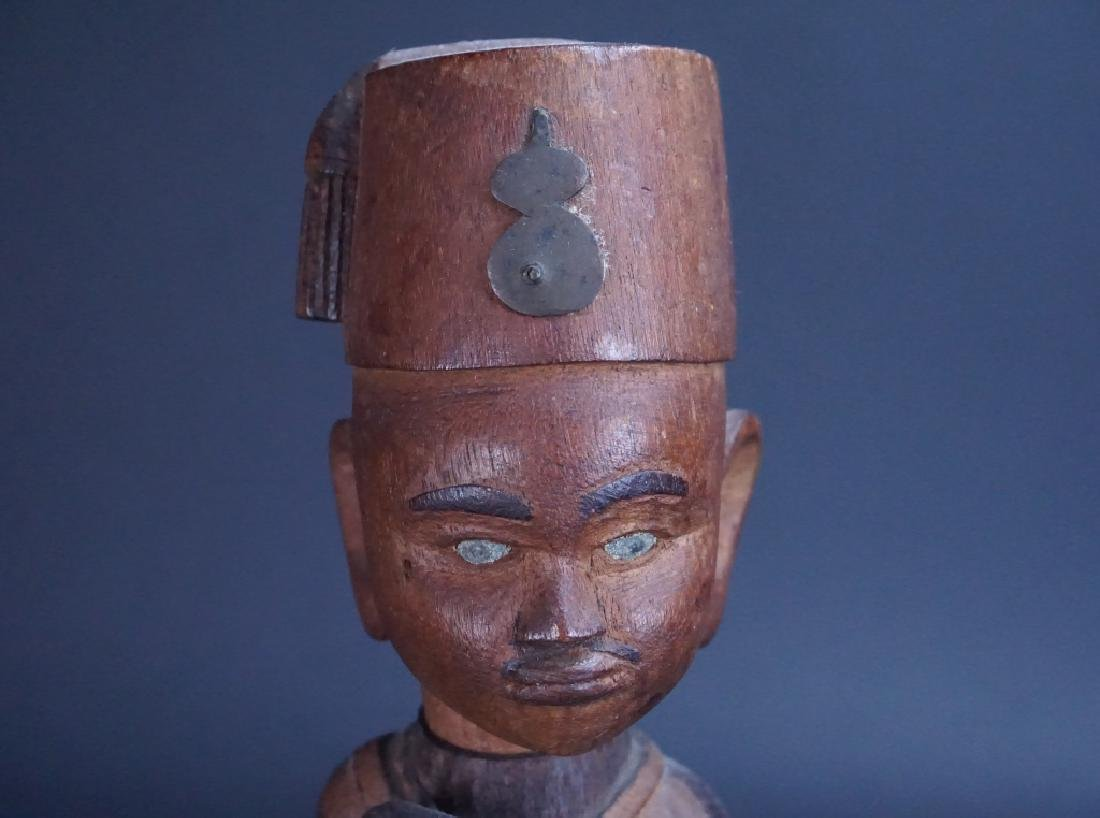 CARVED WOOD AFRICAN SOLDIER FIGURE - 2
