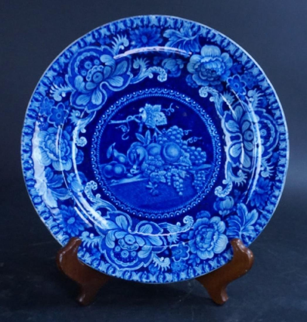 ANTIQUE FLOW BLUE CABINET PLATE