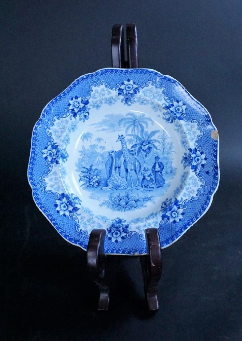 ANTIQUE BLUE TRANSFERWARE GIRAFFE STONEWARE PLATE