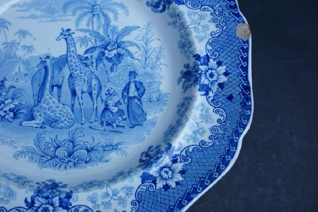 ANTIQUE BLUE TRANSFERWARE GIRAFFE STONEWARE PLATE - 4