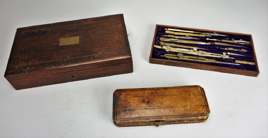 PAIR ANTIQUE DRAFTING SETS - 6