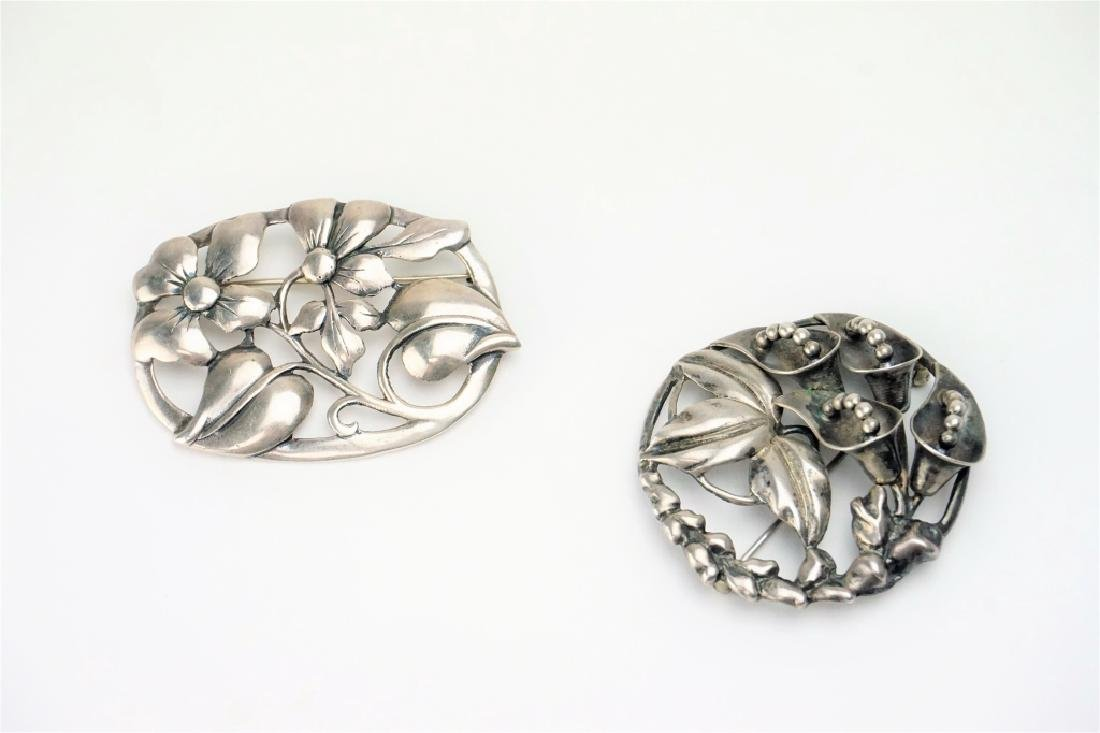 (2) STERLING SILVER FLORAL BROOCHES