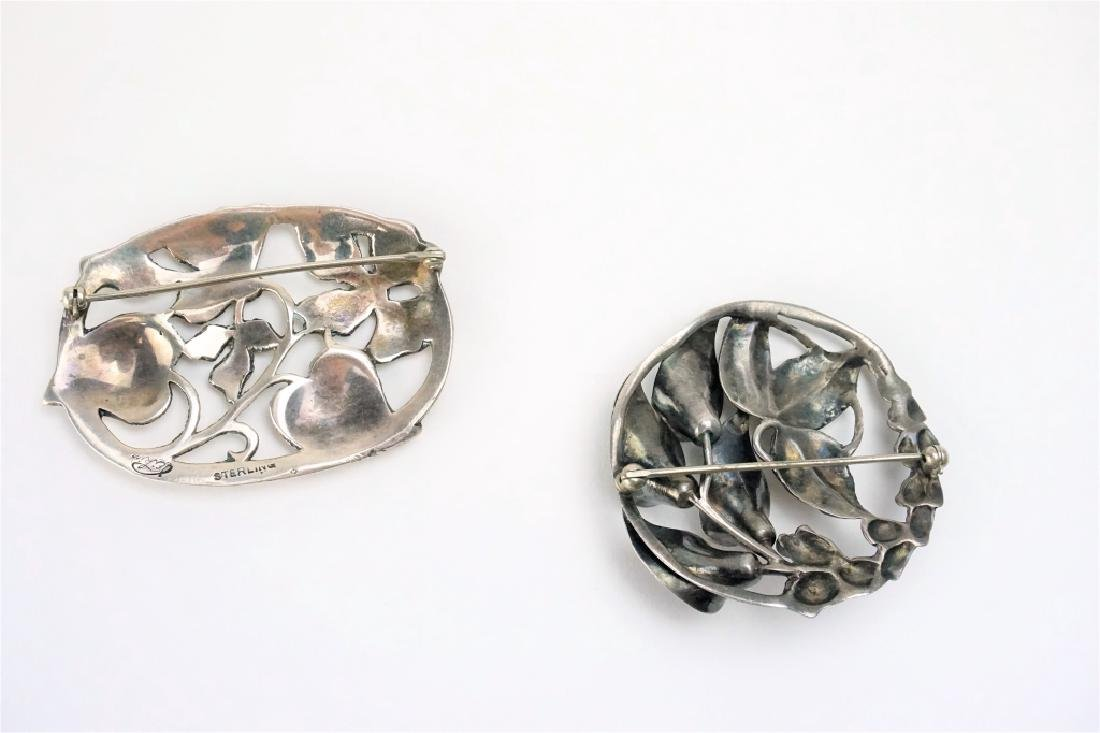 (2) STERLING SILVER FLORAL BROOCHES - 2