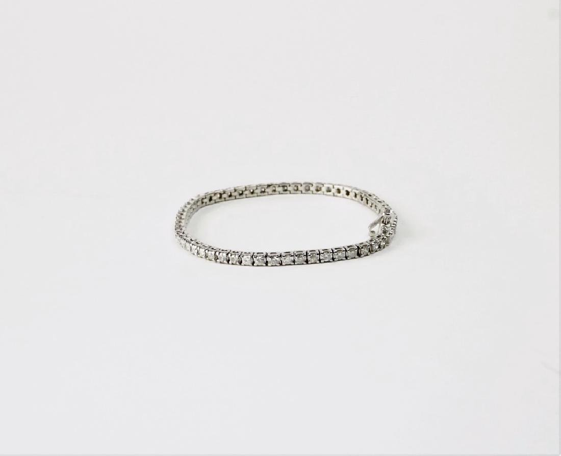 14K WHITE GOLD & DIAMOND TENNIS BRACELET - 2