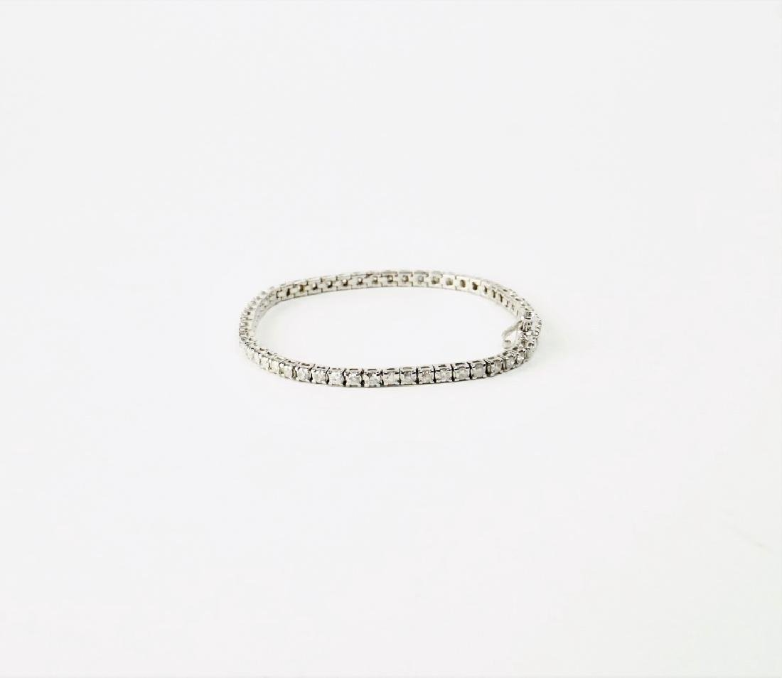 14K WHITE GOLD & DIAMOND TENNIS BRACELET - 3
