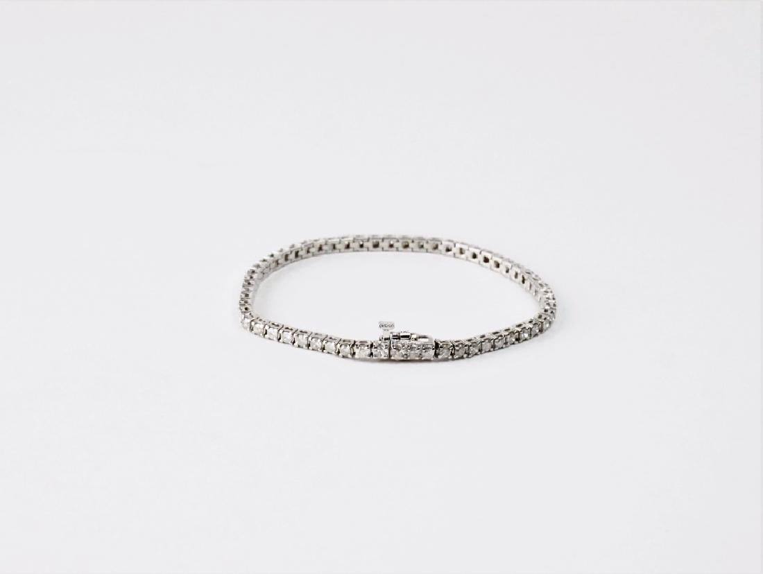 14K WHITE GOLD & DIAMOND TENNIS BRACELET - 4