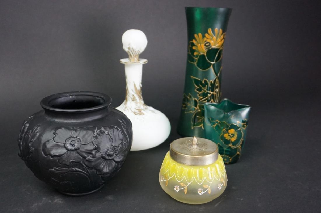 5 ASSORTED ANTIQUE ART GLASS VASES