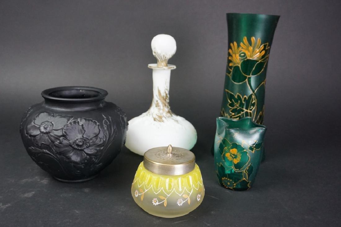 5 ASSORTED ANTIQUE ART GLASS VASES - 2
