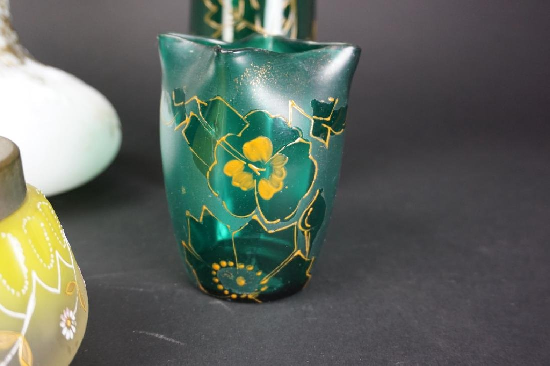 5 ASSORTED ANTIQUE ART GLASS VASES - 4