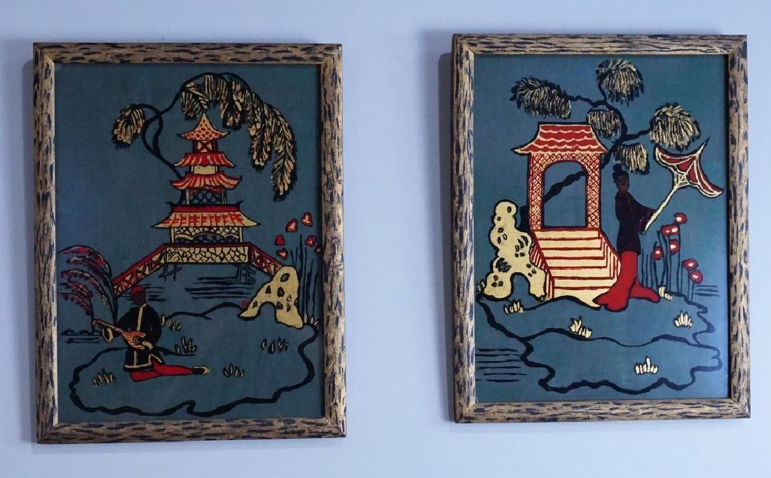 2pcs REVERSE PAINTED ORIENTAL FRAMED ART