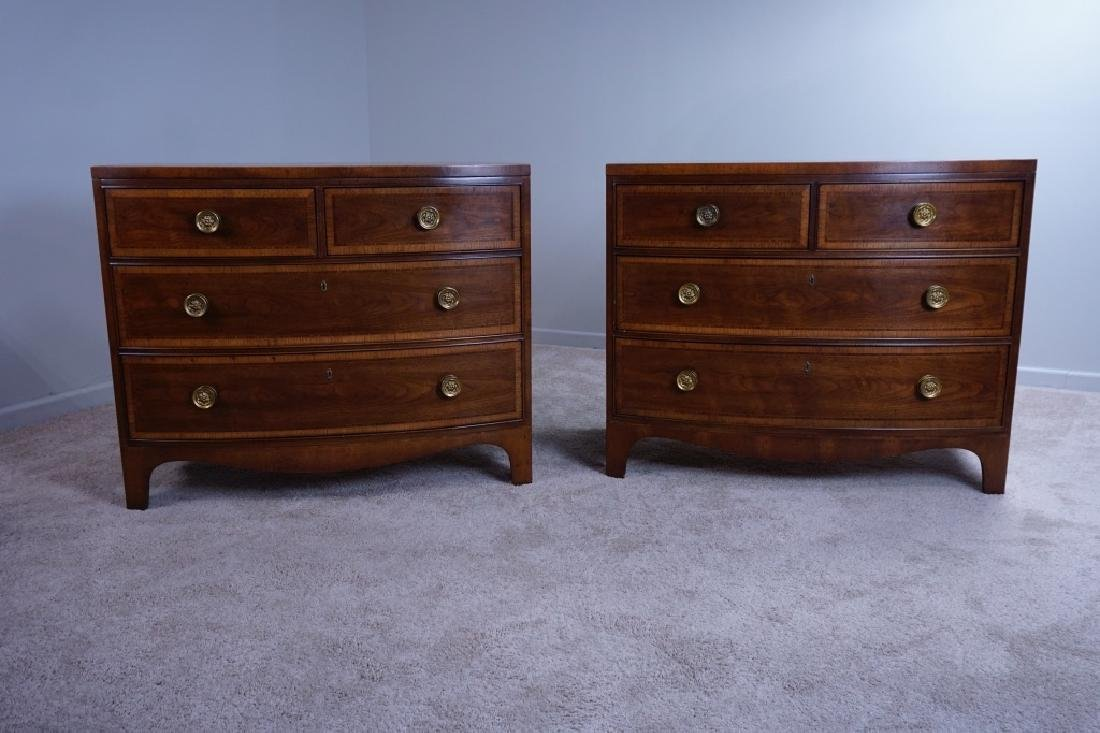 PAIR OF HENREDON BANDED BOWFRONT 4-DRAWER CHESTS