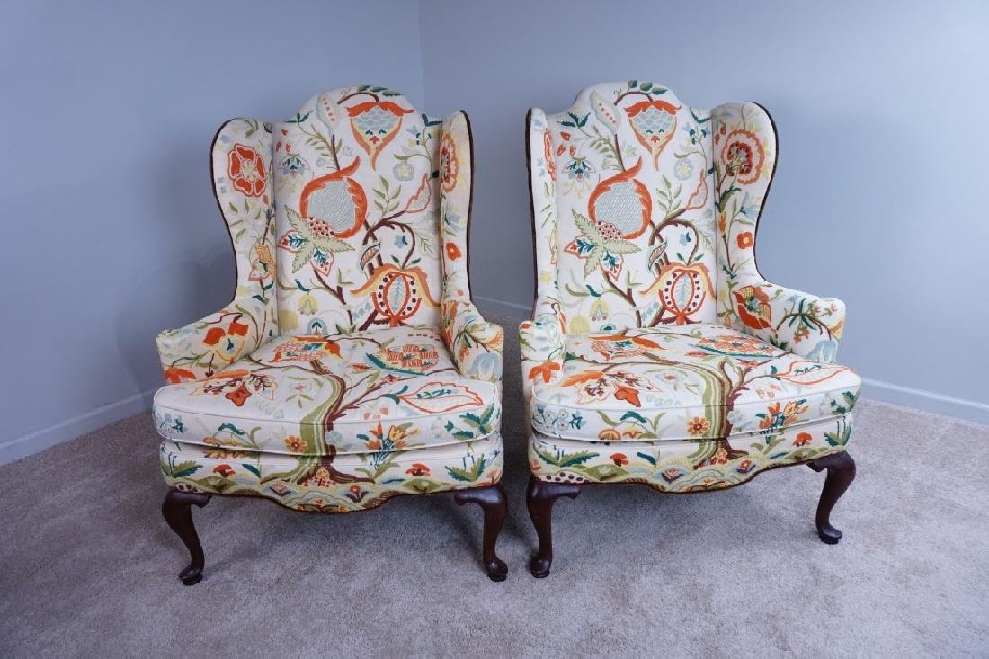 "PAIR OF MARY WEBB WOOD WING CHAIRS ""TREE OF LIFE"""