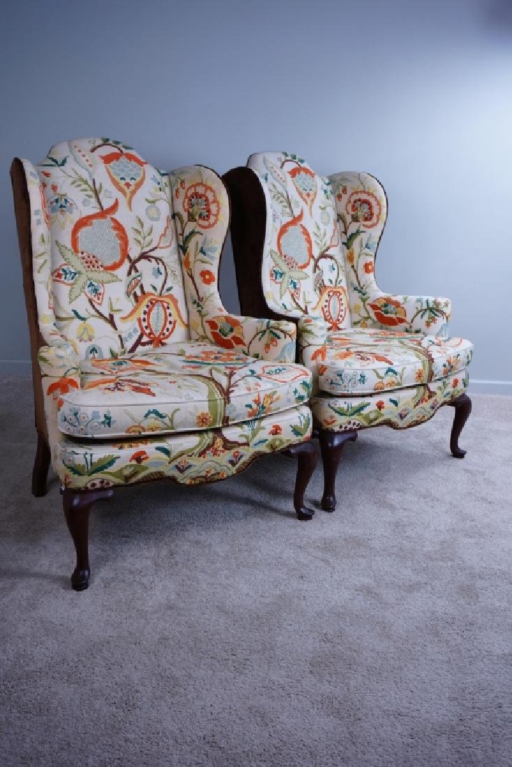 "PAIR OF MARY WEBB WOOD WING CHAIRS ""TREE OF LIFE"" - 2"