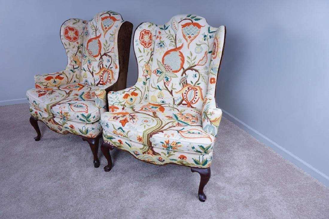 "PAIR OF MARY WEBB WOOD WING CHAIRS ""TREE OF LIFE"" - 3"