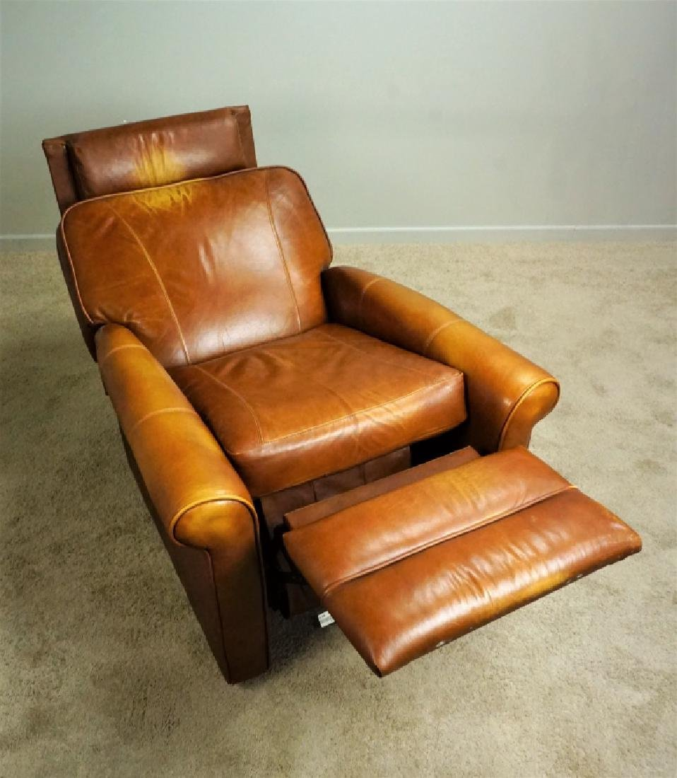 1970'S BROWN LEATHER RECLINER - 2