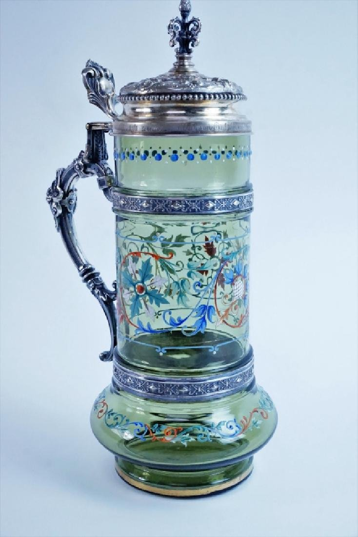 BAVARIAN GLASS HAND PAINTED TANKARD WITH LID