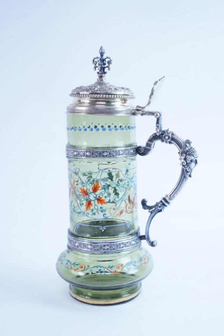 BAVARIAN GLASS HAND PAINTED TANKARD WITH LID - 6