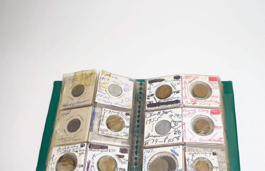 44 ASSORTED FOREIGN COINS IN COIN STOCK BOOK - 2