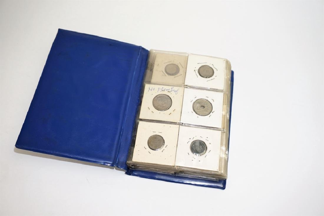 46 ASSORTED FOREIGN COINS IN COIN STOCK BOOK