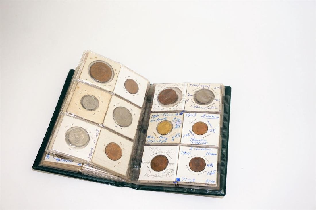 51 ASSORTED FOREIGN COINS IN COIN STOCK BOOK