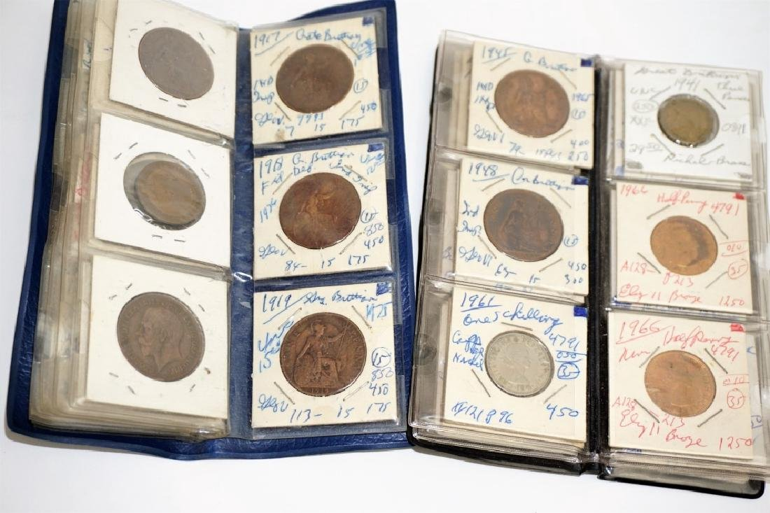 63 ASSORTED GREAT BRITAIN COINS IN COIN STOCK BOOK - 6