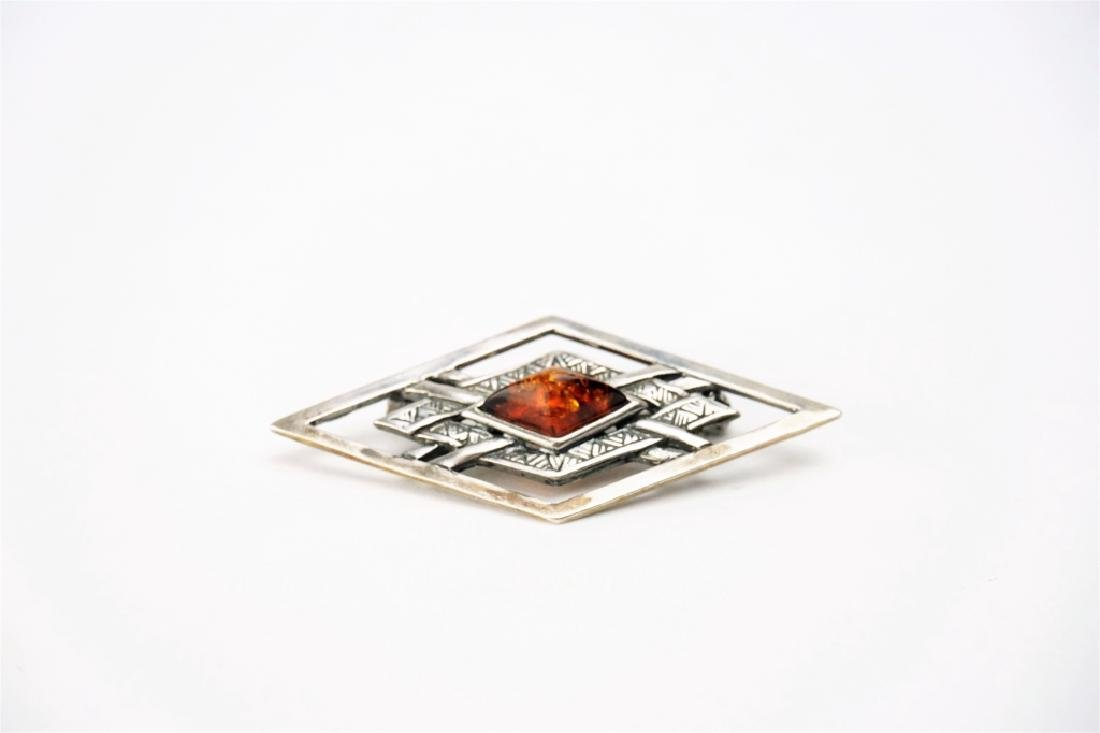 (3) ASSORTED STERLING SILVER PINS - 4