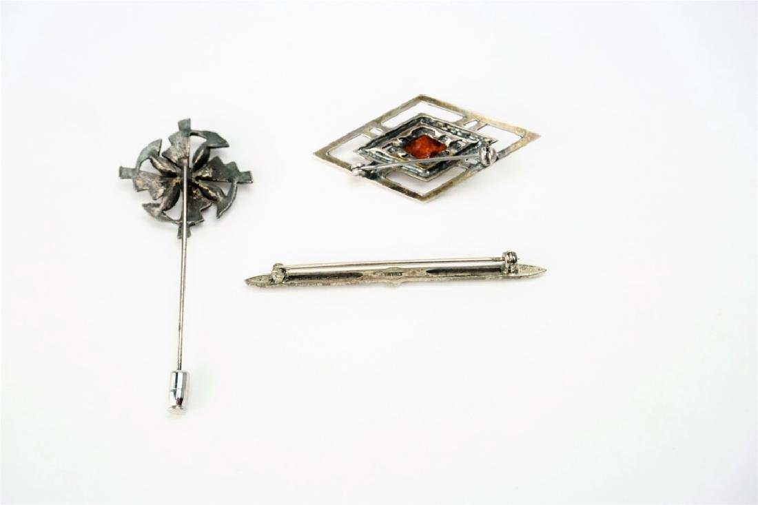(3) ASSORTED STERLING SILVER PINS - 5