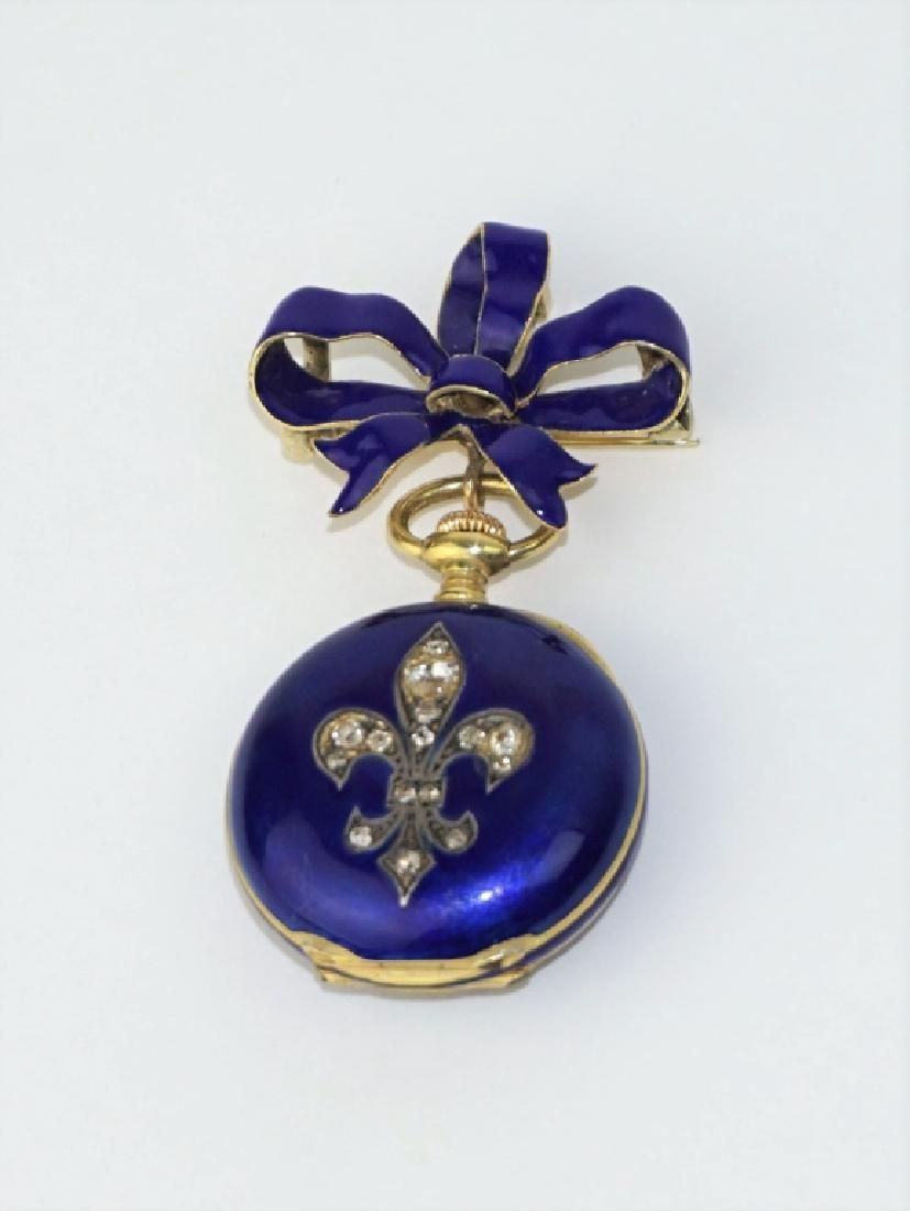 18K GOLD ENAMEL & ROSECUT DIAMOND POCKET WATCH PIN
