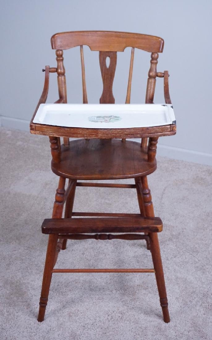 ANTIQUE WOOD HIGH CHAIR WITH ENAMEL TRAY