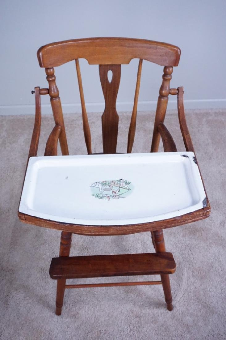 ANTIQUE WOOD HIGH CHAIR WITH ENAMEL TRAY - 2
