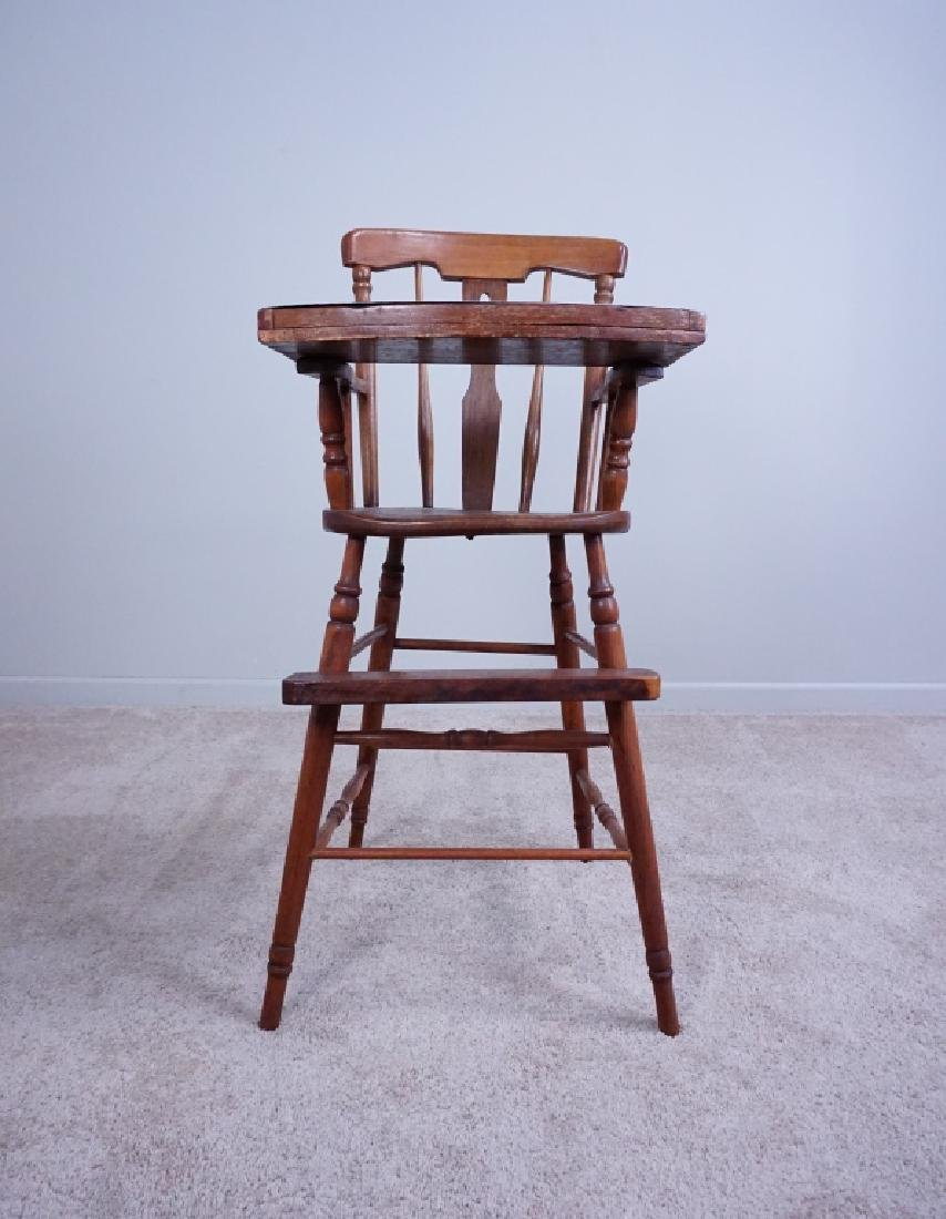 ANTIQUE WOOD HIGH CHAIR WITH ENAMEL TRAY - 3