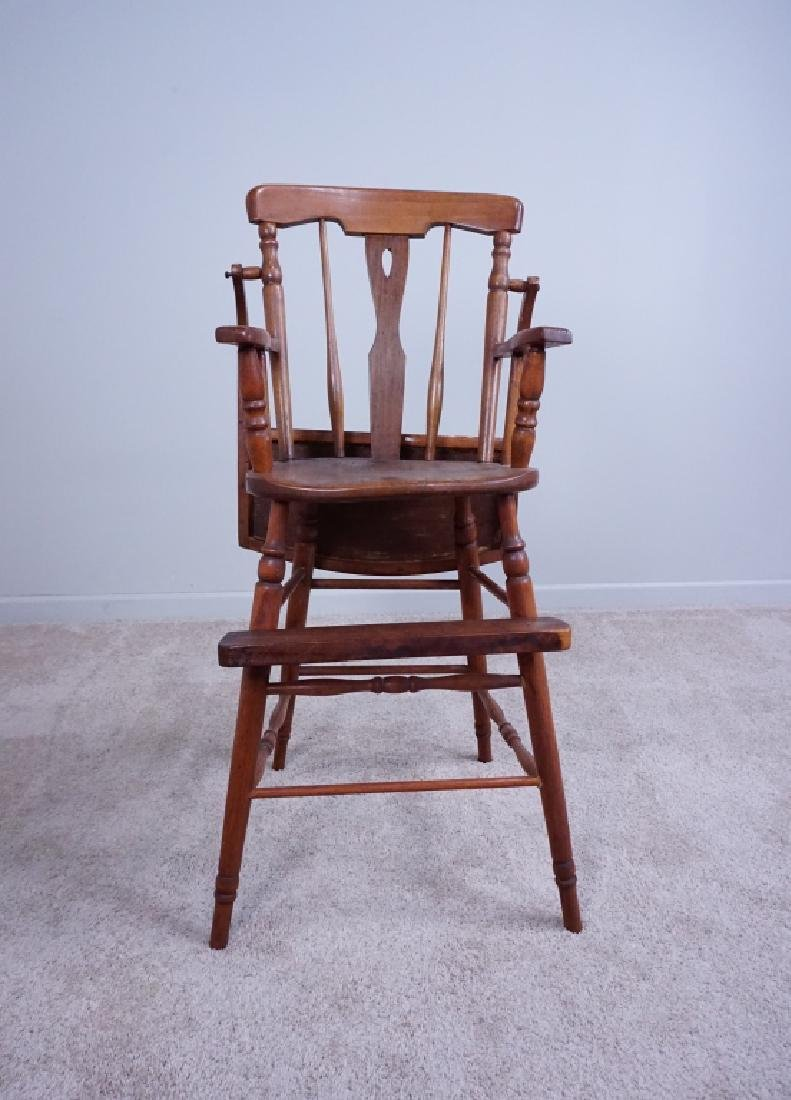 ANTIQUE WOOD HIGH CHAIR WITH ENAMEL TRAY - 4