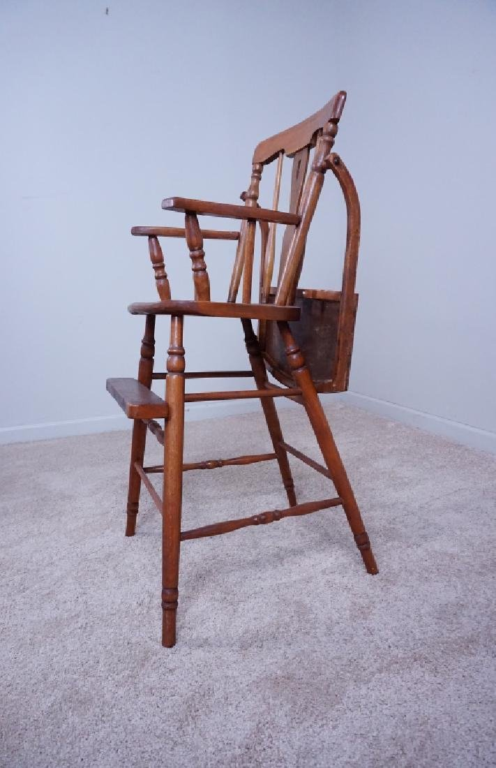 ANTIQUE WOOD HIGH CHAIR WITH ENAMEL TRAY - 5
