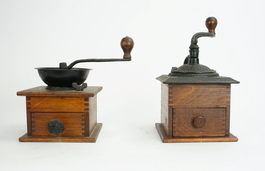 PAIR VINTAGE WOOD & IRON COFFEE MILLS