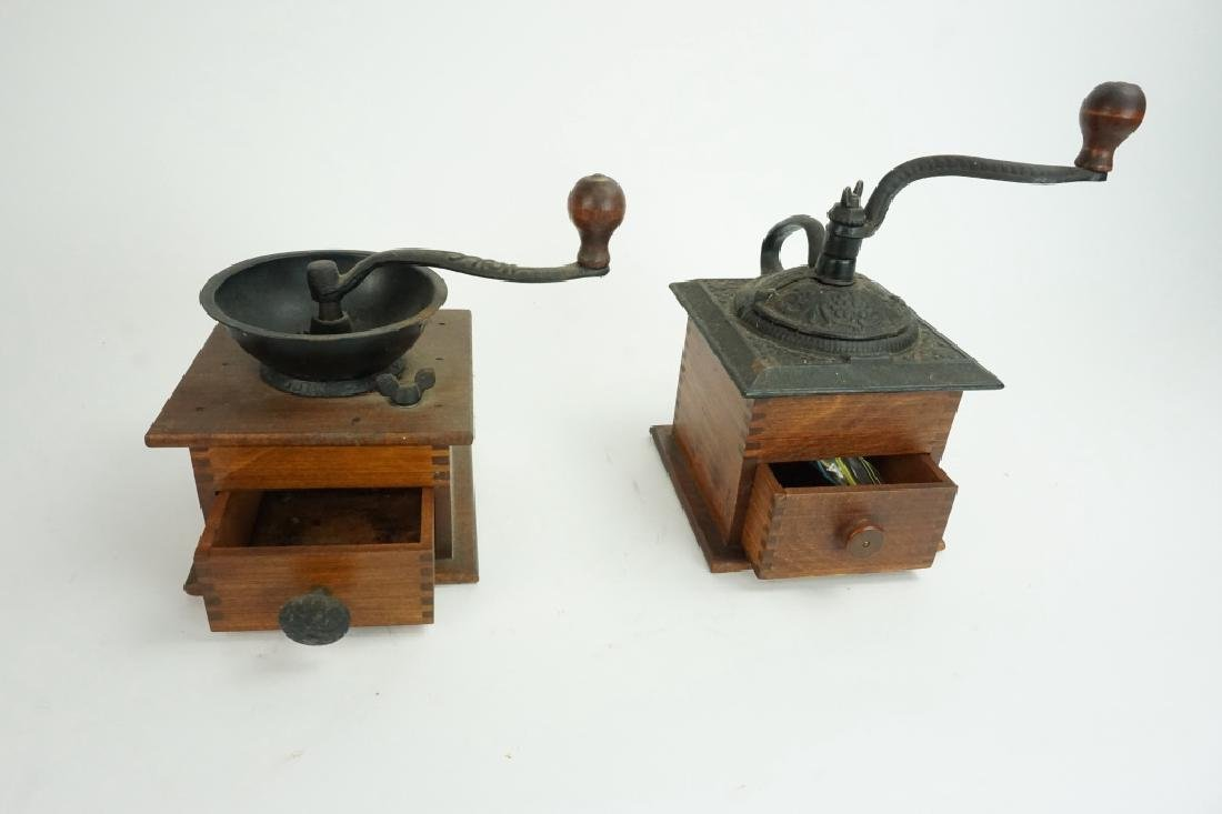 PAIR VINTAGE WOOD & IRON COFFEE MILLS - 2