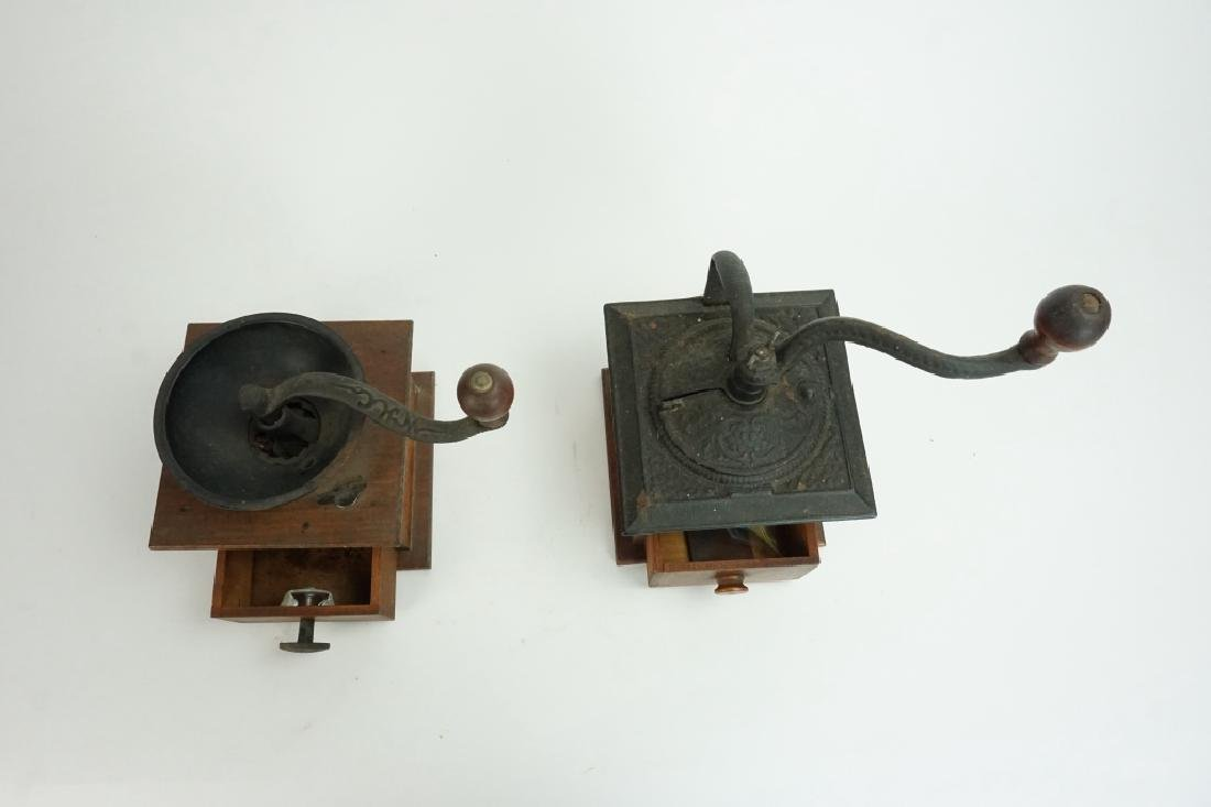 PAIR VINTAGE WOOD & IRON COFFEE MILLS - 3