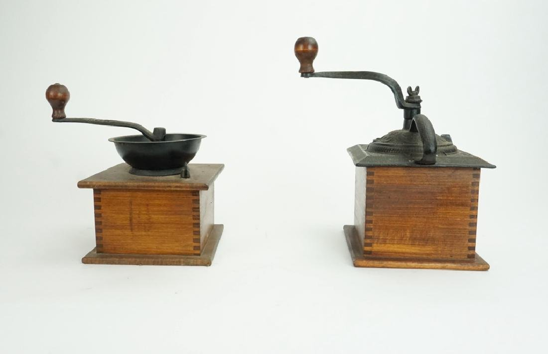 PAIR VINTAGE WOOD & IRON COFFEE MILLS - 4