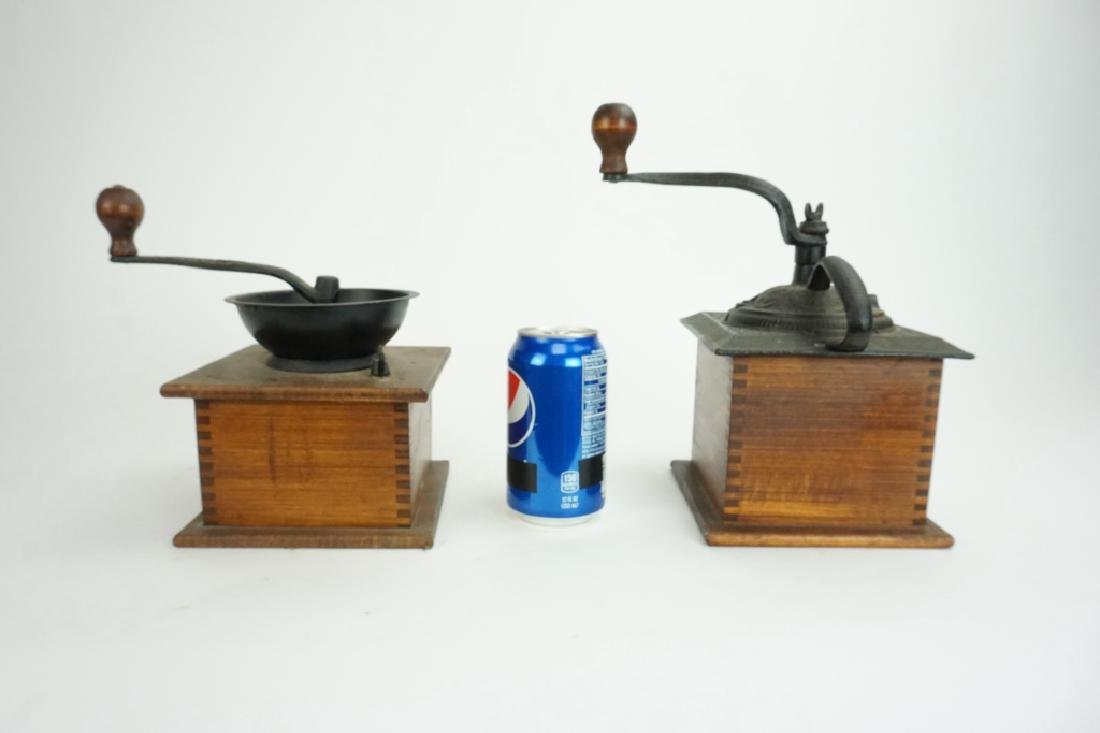 PAIR VINTAGE WOOD & IRON COFFEE MILLS - 5