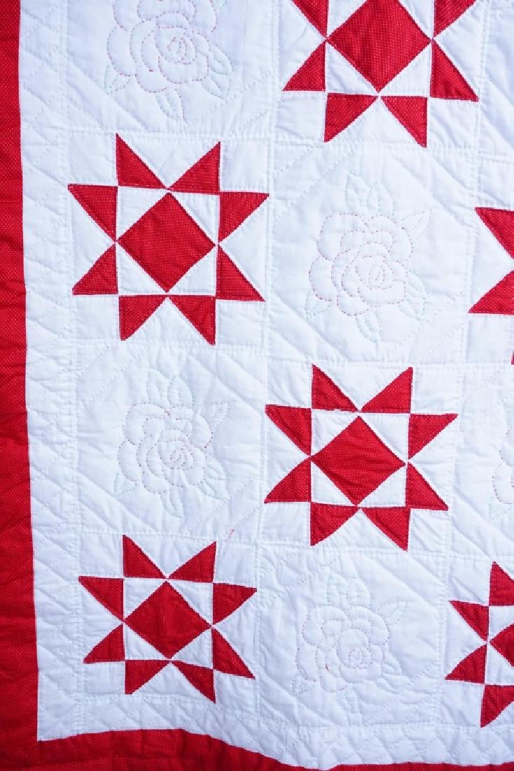 HAND STITCHED 8-POINTED STAR & FLORAL QUILT