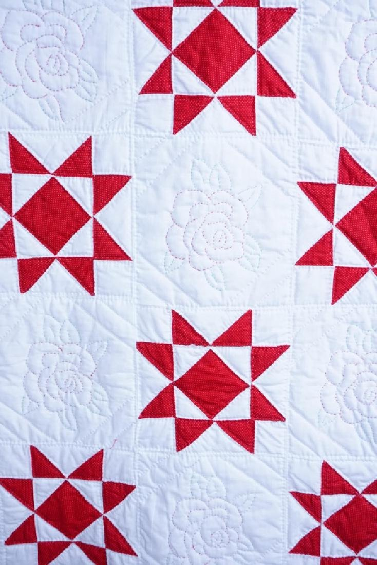 HAND STITCHED 8-POINTED STAR & FLORAL QUILT - 2