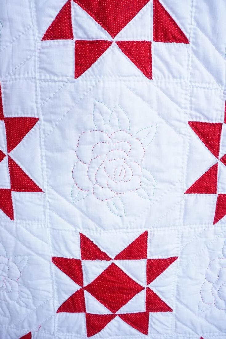 HAND STITCHED 8-POINTED STAR & FLORAL QUILT - 3