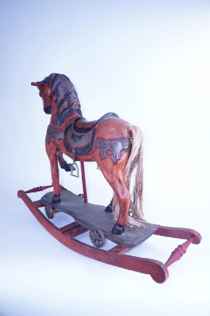 HAND CARVED WOOD ROCKING HORSE - 3