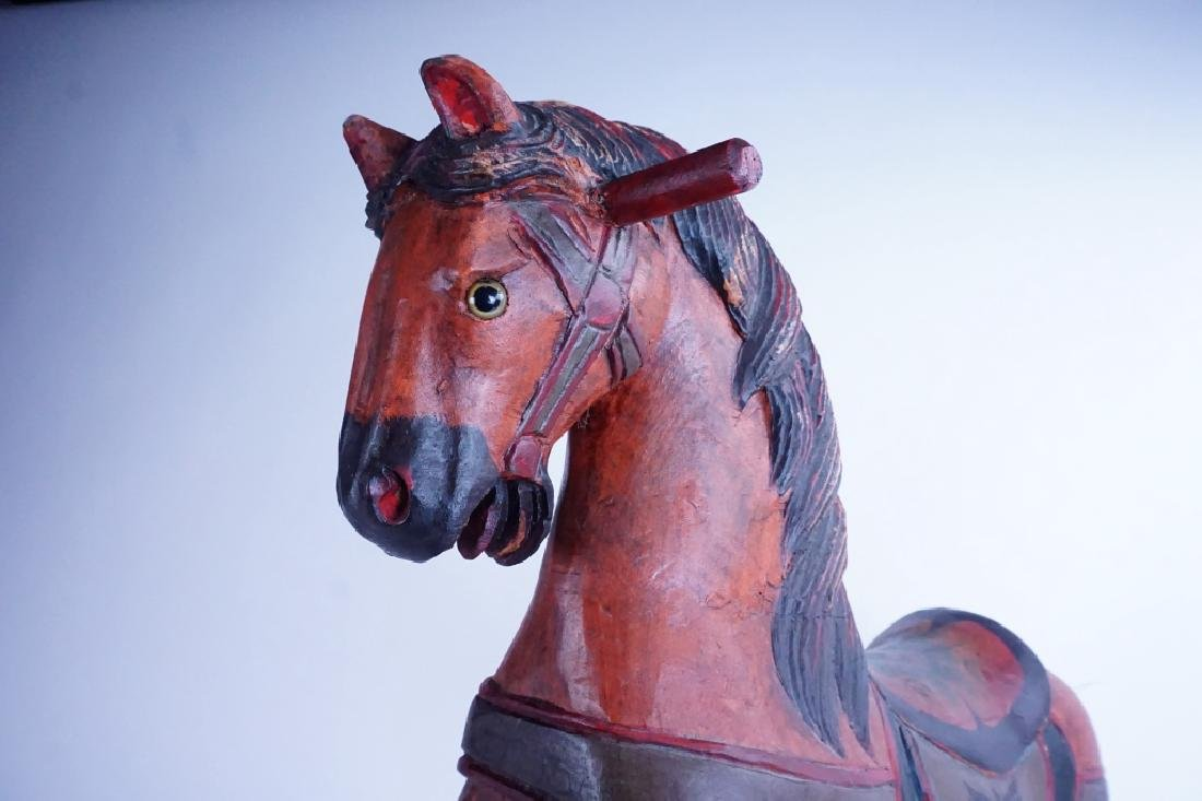 HAND CARVED WOOD ROCKING HORSE - 5