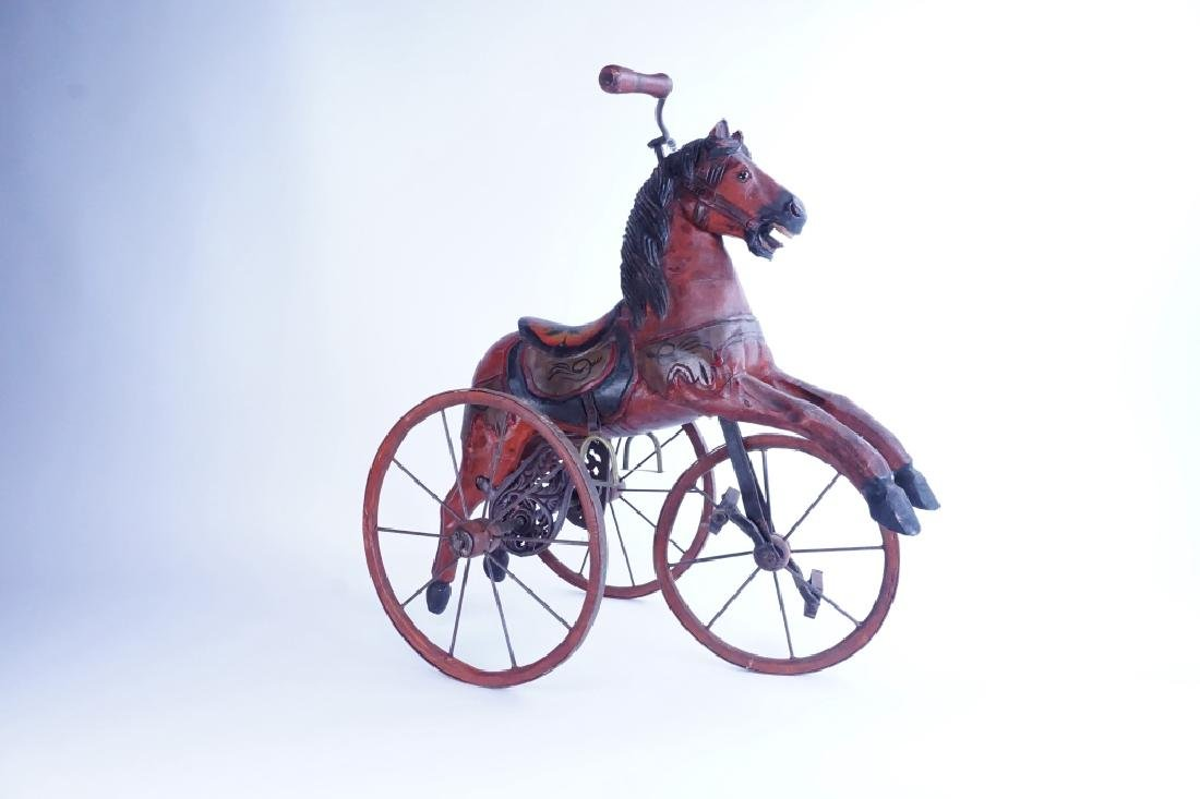 HAND CARVED WOODEN HORSE TRICYCLE