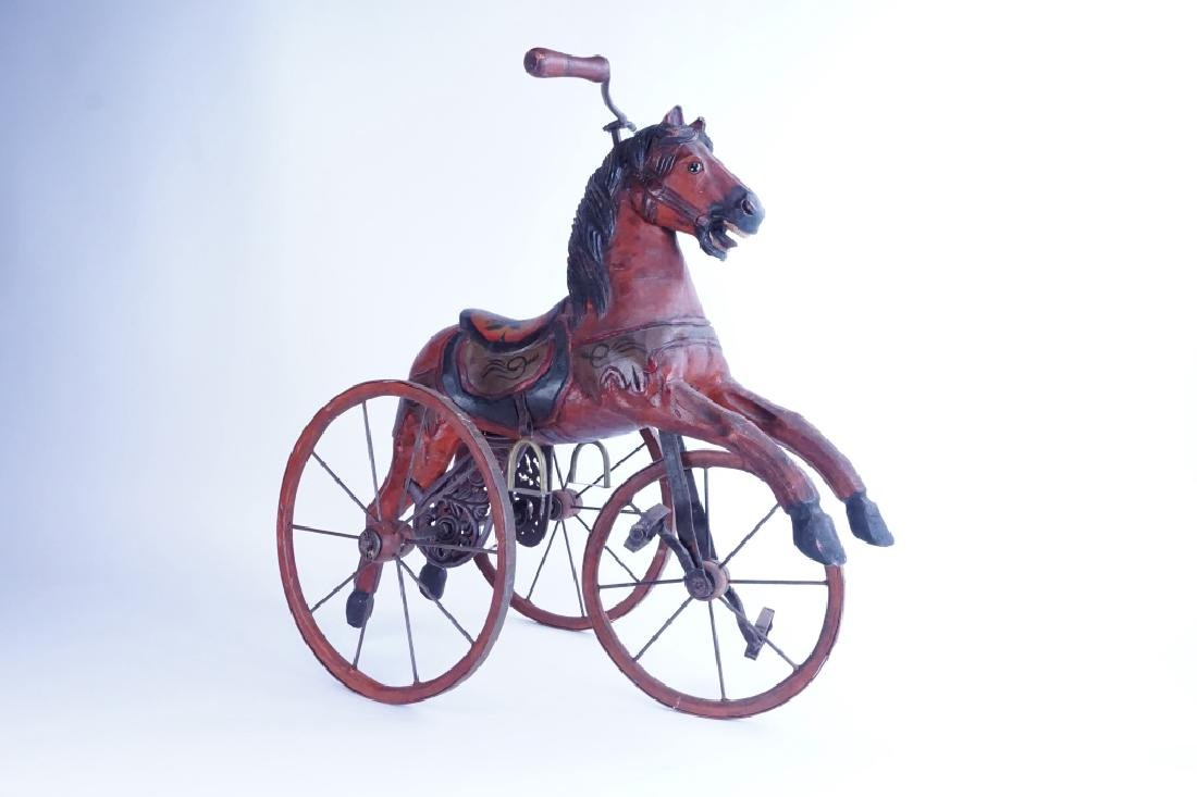 HAND CARVED WOODEN HORSE TRICYCLE - 2