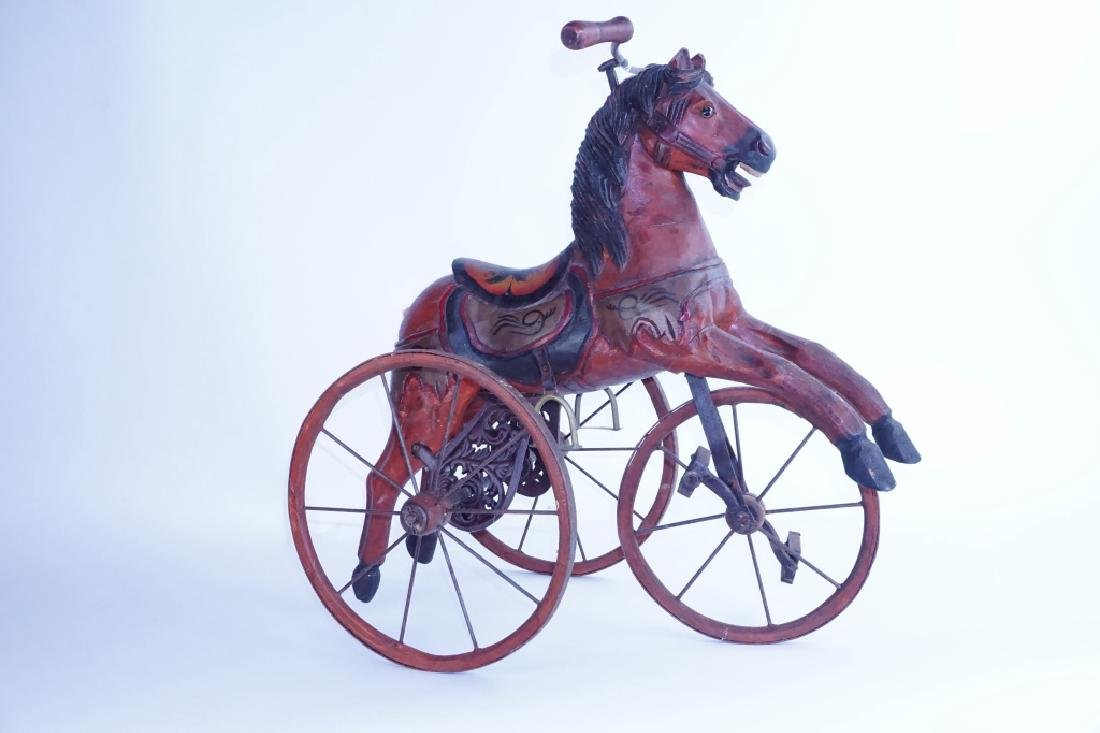 HAND CARVED WOODEN HORSE TRICYCLE - 3